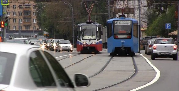 езда по трамвайным путям